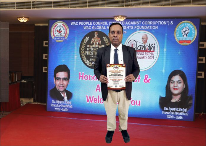 Dr. Bhasker Sharma Receives Gandhi Sewa Ratna Award 2021